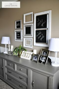 Paint the dresser gray, and love the idea of framed chalk messages in our bedroom!