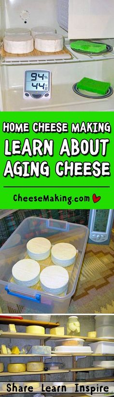 This article will guid you through common questions on aging cheese at home. From humidity and temperature of a cheese cave to preparation of the cheese before aging. Proper aging is the final step in cheese making great cheese at home. Goat Milk Recipes, Cheese Recipes, Cooking Recipes, How To Make Cheese, Food To Make, Cooking Cheese, Fromage Cheese, Goat Cheese, Aged Cheese