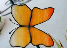 Sunrise Butterfly Stained Glass Suncatcher Plant by uniquenique, $22.00 #onfireteam #teamfest #lacwe