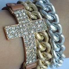 Cross and Chain Bracelets