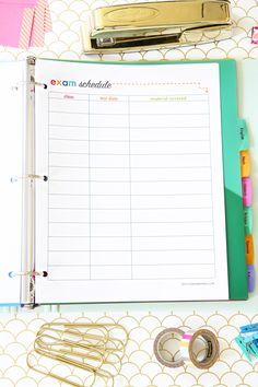 Exam Schedule Printable, Student Binder with Free Printables for Back-to-School, study aids, high school organization, college organization, middle school organization, pretty printables, printables for girls, printables for boys, resources for students, back to school, graduation gift, student organization, teacher printables