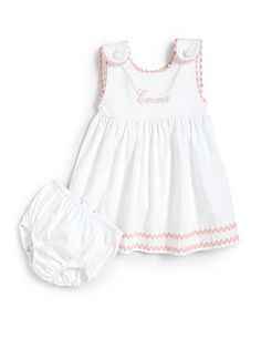 Princess+Linens Infant's+Two-Piece+Personalized+Dress+&+Diaper+Cover+Set