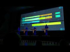 Kraftwerk full live show @ Helsinki Finlandia House Late show Song list: Numbers/Computer world It's more fun to compute/Home com. Projection Mapping, Song List, Helsinki, Pop Music, Three Dimensional, Techno, Tours, 3d, Live