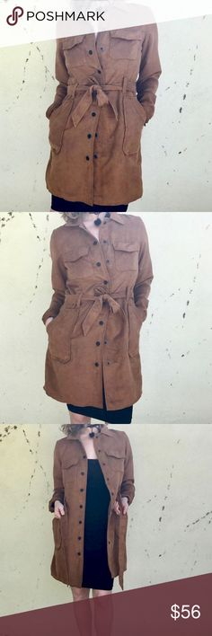 ANTHROPOLOGIE FAUX SUEDE JACKET long coat trench M New - anthropologie sanctuary brand Faux SUEDE long trench style with deep front pockets and a tie belt at waist. Snap buttons all the way down. Lined. Classic chic! Color is CAMEL BROWN. Marked as a medium, but Fits both medium and large.  (929) Anthropologie Jackets & Coats