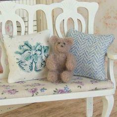 Dollhouse Miniature, Brown Teddy Bear, Needle Felted, Sitting Toy, Nursery Decor, Shabby Cottage Chic, 1:12th Scale