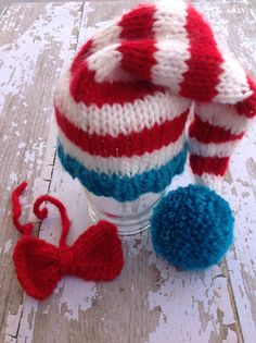 Photography Prop, Newborn boy gift, Cat in the Hat stocking hat with red bow tie, Red and white striped stocking hat on Etsy, $24.00