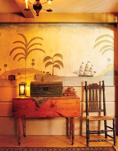 primitive colonial Island wall Mural... Be still my heart!