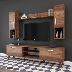Tv Unit Interior Design, Tv Unit Furniture Design, Tv Wall Design, Tv Wall Mount Designs, Tv Wall Furniture, Tv Cabinet Wall Design, Tv Console Design, Lcd Unit Design, Wall Unit Designs