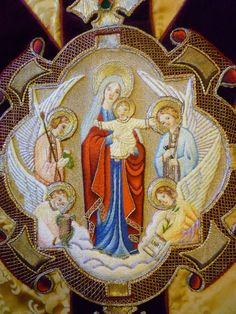 Our Lady of the Atonement vestment embroidery