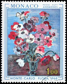Anemones by French Fauvist painter Raoul Dufy, stamp printed by MONACO, circa 1968.