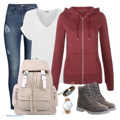 """Fall School day fashion"" by myfriendshop ❤ liked on Polyvore featuring H&M, WearAll and Timberland"