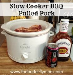 Slow cooker BBQ pulled pork made with a cherry coke! Easy and super yummy. Slow Cooker Bbq, Best Slow Cooker, Slow Cooker Recipes, Crockpot Recipes, Cooking Recipes, Crock Pot Food, Crockpot Dishes, Pork Dishes, Bbq Pulled Pork Recipe
