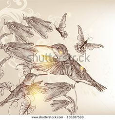 Vector background with birds and butterflies in vintage style for design by mashakotcur, via ShutterStock Grandpa Tattoo, Vector Background, Vintage Fashion, Vintage Style, Royalty Free Stock Photos, Butterfly, Birds, Illustration, Design