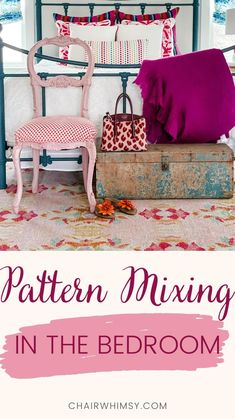 Diy Furniture Projects, Bedroom Furniture, Wall Colors, House Colors, Pink Rug, Colorful Furniture, Pattern Mixing, Pattern Design, Upholstery