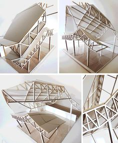 (Khim) Khim Pisessith - Physical Model (1:50): The cutaway model of the roof (mid-air). This shows the bow-string truss and its connections