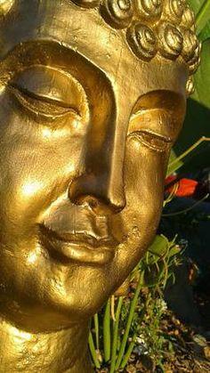 Golden Buddha head statue