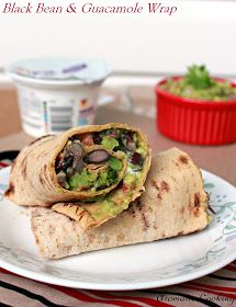 Aromatic Cooking: Blackbean And Guacamole Wrap. Black beans, guacamole and Greek yogurt!  My favorites!