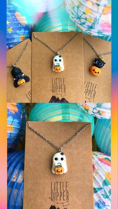 Halloween C, Polymer Clay Halloween, Adornos Halloween, Cat Jewelry, Jewelery, Ghost Cat, Cat Pumpkin, Cute Clay, Fondant Figures