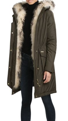 Shape-memory quilted waterproof fabric padded military parka embellished  with contrasting Finn raccoon fur inserts