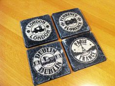 Europe travel stamp design on charcoal slate drink coasters by 5 Creations Handmade Decor