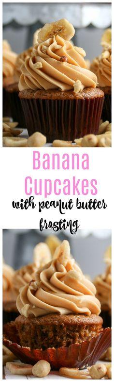A super moist banana cupcake recipe that is a cinch to throw together. Banana Cupcakes, Yummy Cupcakes, Mocha Cupcakes, Butter Cupcakes, Gourmet Cupcakes, Strawberry Cupcakes, Flower Cupcakes, Velvet Cupcakes, Vanilla Cupcakes