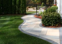 Walkway in Enfield, CT by Bahler Brothers. Aberdeen slabs by Techo-Bloc
