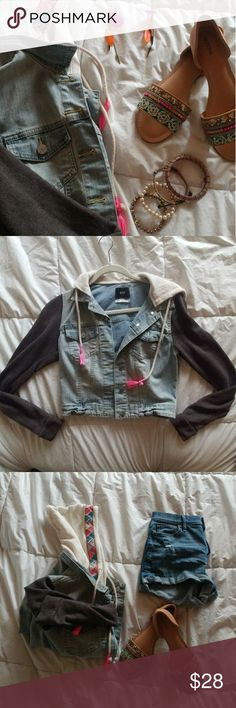 SALE NEW Urban Outfitters Jacket Gorgeous jean jacket with tribal print by Urban Outfitters (BDG)  Sleeves and hood are super-soft cotton Perfect for summer nights or your next music festival Urban Outfitters Jackets & Coats