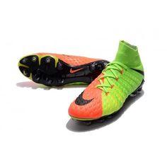 new style 85b3a d4464 Botas De Futbol Nike Hypervenom Phantom III 3 DF FG Verde eléctrico Negro  Hype Naranja Online Baratas