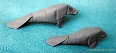 I'll try anything-Origami manatee Origami Car, Origami Bowl, Origami Mouse, Origami Star Box, Origami And Kirigami, Origami Paper Art, Oragami, Paper Crafts, Origami Folding