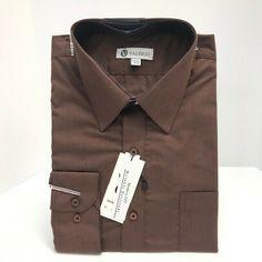 Berlioni Men/'s Convertible Cuff Solid Dress Shirt-navy-xl Sleeve 32//33