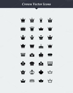 32 Vector Crown Icons by Dreamstale on Creative Market