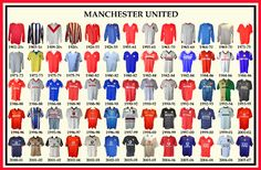 MUFC Historical Football Kits - Manchester United Supporters Club Bristol Bath and District History Manchester, Manchester United Away Kit, Manchester Derby, Manchester United Football, Classic Football Shirts, Vintage Football Shirts, Liverpool Kit, Man Utd Fc, Football Kits