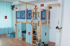 Latest Free Loft bed knight's castle Strategies Got kids ? You then understand that their material winds up actually all over the home! But when yo ideen jungen hochbett Kids Room Bed, Girl Room, Kids Bedroom, Fairytale Room, Playhouse Bed, Château Fort, Ikea Curtains, Trendy Furniture, Childrens Beds