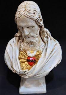 Ateliê Le Mimo: RELIGIOSO Busto Sagrado Coração de Jesus - peça em gesso - 25cm de altura