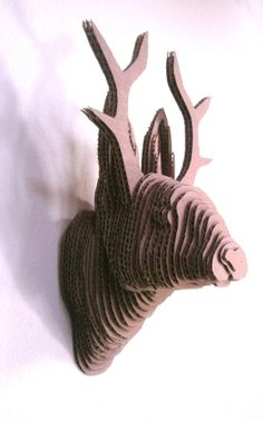 Decorative Cardboard Mounted Jackalope Head by HilbillyDesigns