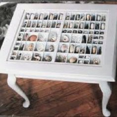 I have an old type-set drawer and want to make a table like this. Currently it hangs on the wall holding my tiny dusty tchotchkes.