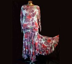 Vintage 80s Floral Chiffon Gored Flair by LilBlackDressVintage, $15.00 Use Coupon Code SALE14 for 10% Off