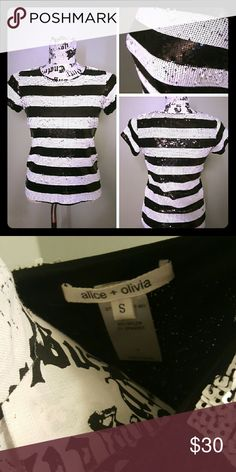Alice + Olivia sequin top! New! Black and white full sequin top Sequins on front and back Alice + Olivia Tops