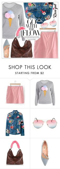 """Rosegal"" by teoecar ❤ liked on Polyvore featuring Yves Saint Laurent, Skinnydip and Valentino"