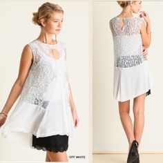 "ARRIVAL! Sleeveless lace off white tunic top Beautiful lace high low  tunic top. Material: 60% cotton, 40% polyester. Slip is not included. Will require a bandeau or a slip underneath. Measurements laying the top flat are:                       Armpit to armpit : S: 20.5"", M: 21.5"", L:22.5"", Length (front,back) : S: 26"",30"" , M: 27"",30"", L: 28"",31"" Pink Peplum Boutique Tops Tunics"