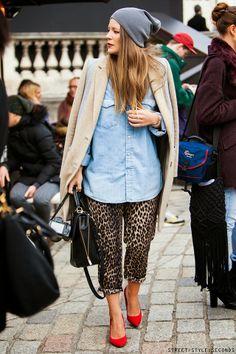 Beanie + leopard trews + a denim shirt = easy peasy style.