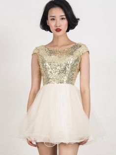 386f7829e4b New at Lazaara the Gold Sequined Tulle Cap Sleeve Dress for only 56