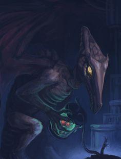 I always liked the bad guys. Ridley from the opening scene of Super Metroid. Metroid Samus, Samus Aran, Metroid Prime, Video Game Art, Video Games, Viewtiful Joe, Super Metroid, Creature Feature, Bounty Hunter
