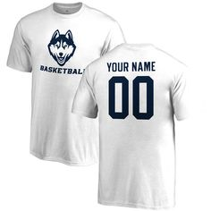 UConn Huskies Fanatics Branded Youth Personalized Name and Number One Color Basketball T-Shirt – White