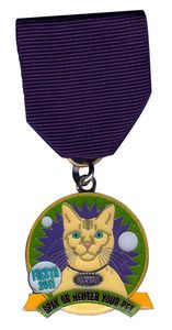 Cannoli of King William cat Fiesta 2011 medal SOLD OUT! The proceeds allowed more than 50 cats and dogs to be spayed and neutered free of charge via The Cannoli Fund, a 501(c)(3) non-profit organization which serves the King William and Lavaca neighborhoods of San Antonio, Texas.