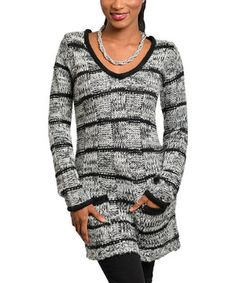 Look at this #zulilyfind! Black & Gray Stripe V-Neck Sweater by Buy in America #zulilyfinds