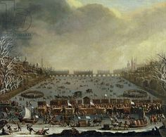 The Frost Fair of the winter of 1683-4 on the Thames, with Old London Bridge in the Distance. c.1685 (oil on canvas), English School, (17th century) / Yale Center for British Art, Paul Mellon Collection, USA / Bridgeman Images