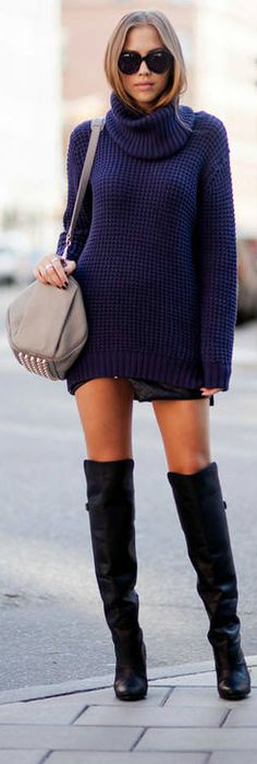 Chunky Sweater, Shorter Bottoms, Over the Knee Boots. Leg lengthening. Givenchy-ish style.