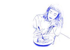 Dominika Ďurechová- Blue breakfast - digital illustration (Wacom tablet, Photoshop)