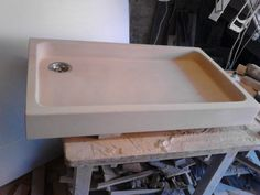 Hand Made, natural stone French farm sink for a customer near Paris.